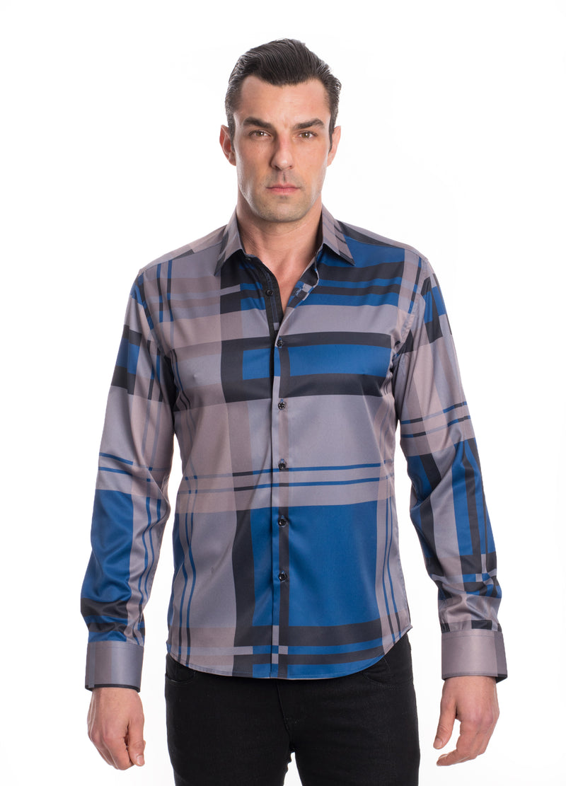 TKL-1111-TEAL GREY STRETCH PLAID SHIRT 6PK
