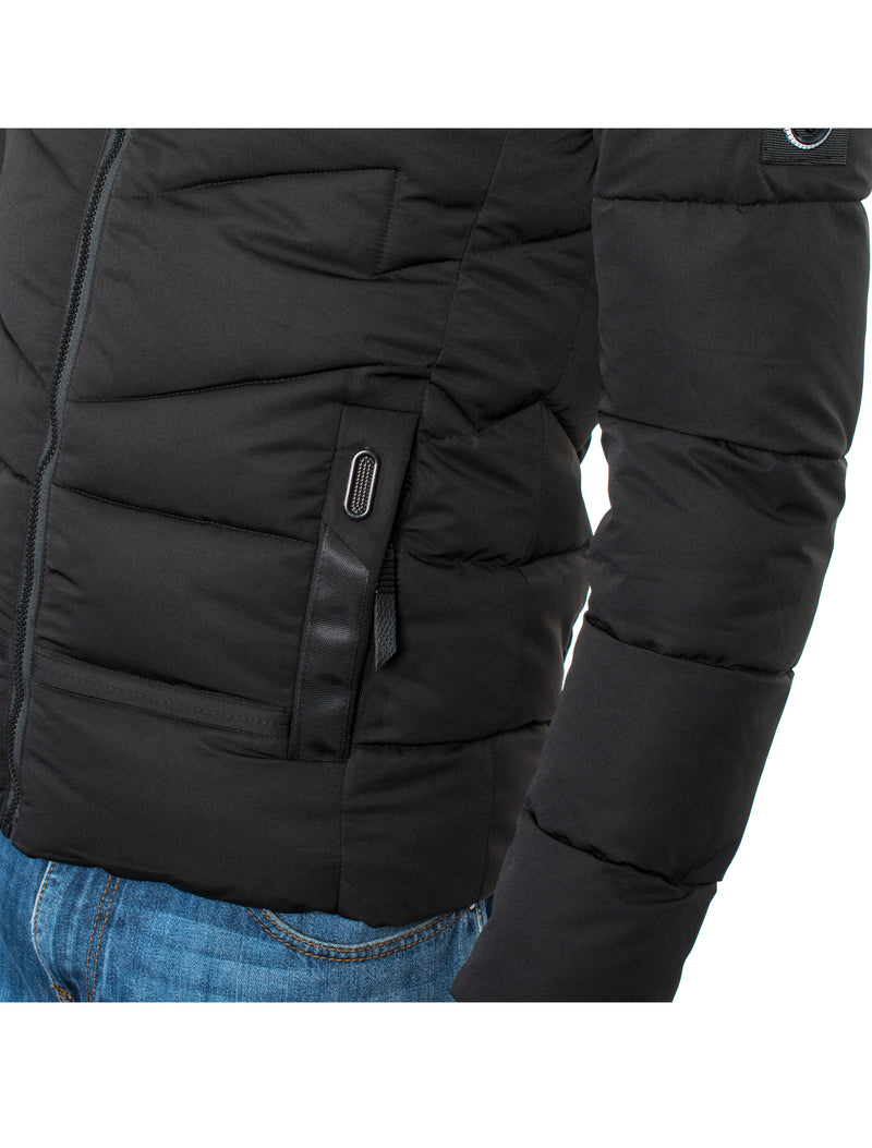 VPJ-03 BLACK MENS PUFF JACKET WITH DETACHABLE HOOD 6PK