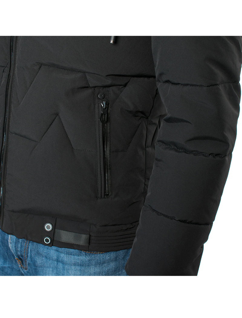 VPJ-05 BLACK MENS PUFF JACKET WITH DETACHABLE HOOD 6PK