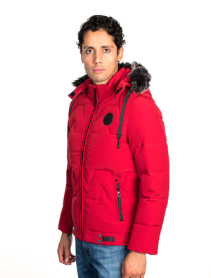VPJ-05 RED MENS PUFF JACKET WITH DETACHABLE HOOD 6PK