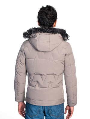 VPJ-05 TAUPE MENS PUFF JACKET WITH DETACHABLE HOOD 6PK