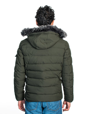 VPJ-06 OLIVE MENS PUFF JACKET WITH DETACHABLE HOOD 6PK