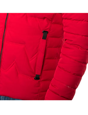 VPJ-07 RED MENS PUFF JACKET WITH DETACHABLE HOOD 6PK