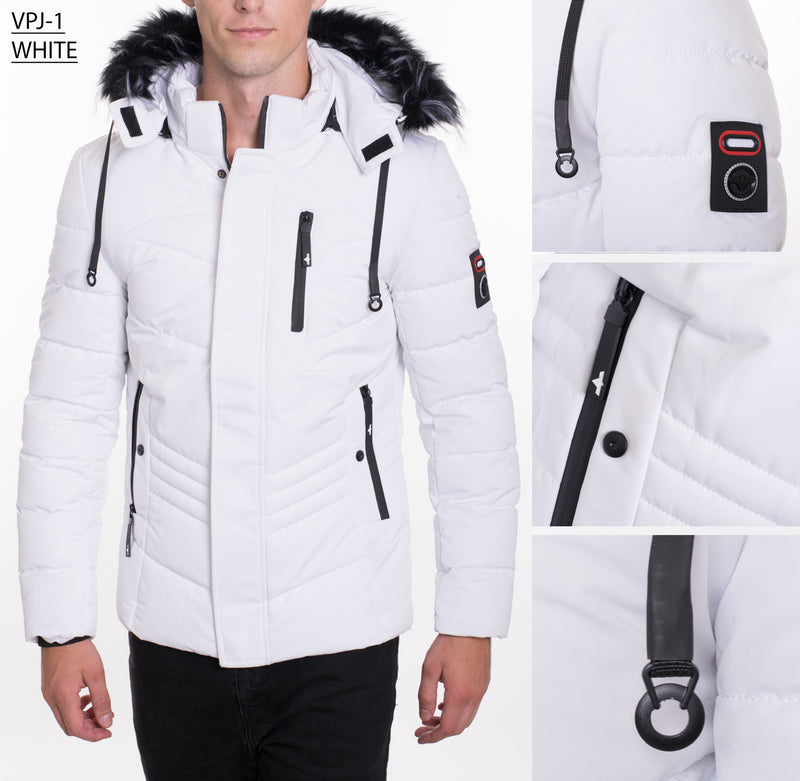 VPJ-1 WHITE MENS PUFF JACKET WITH DETACHABLE HOOD 6PK
