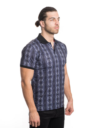 VPK20-04BLK MEN'S PRINTED POLO SHIRT 6PK