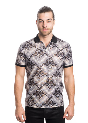 VPK20-08BLK MEN'S PRINTED POLO SHIRT 6PK