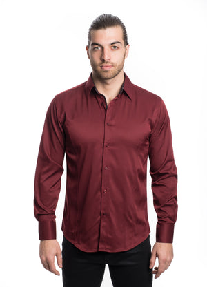 VSLK-2020-BURGUNDY  SOLID STRETCH SHIRT 6PK