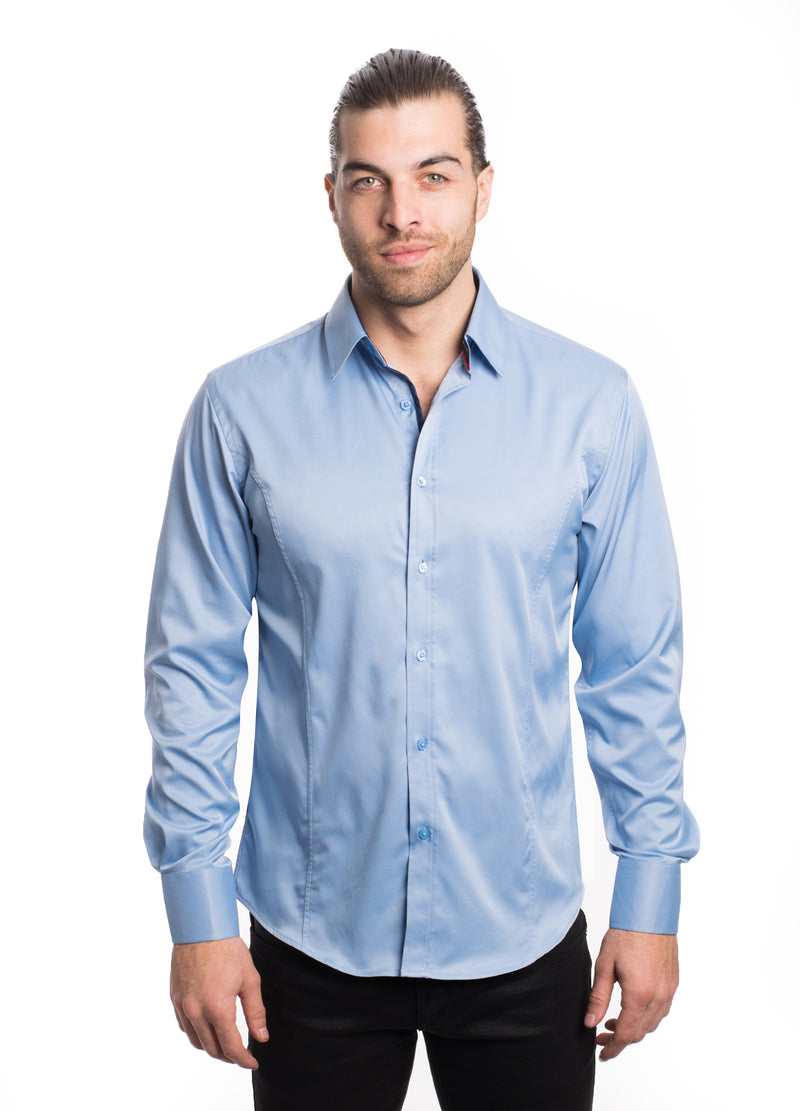 VSLK2020-LT. BLUE- SOLID STRETCH SHIRT 6PK
