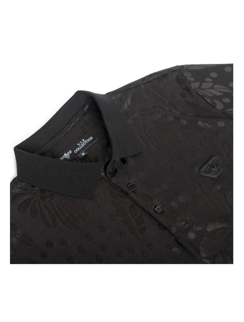 VSP-2028-BLACK SOLID POLO FLORAL IMPRINT 6PK