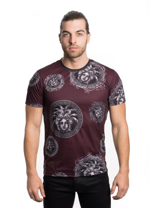 VTK-20-3BURGUNDY  MEN'S PRINTED TEE SHIRT 6PK