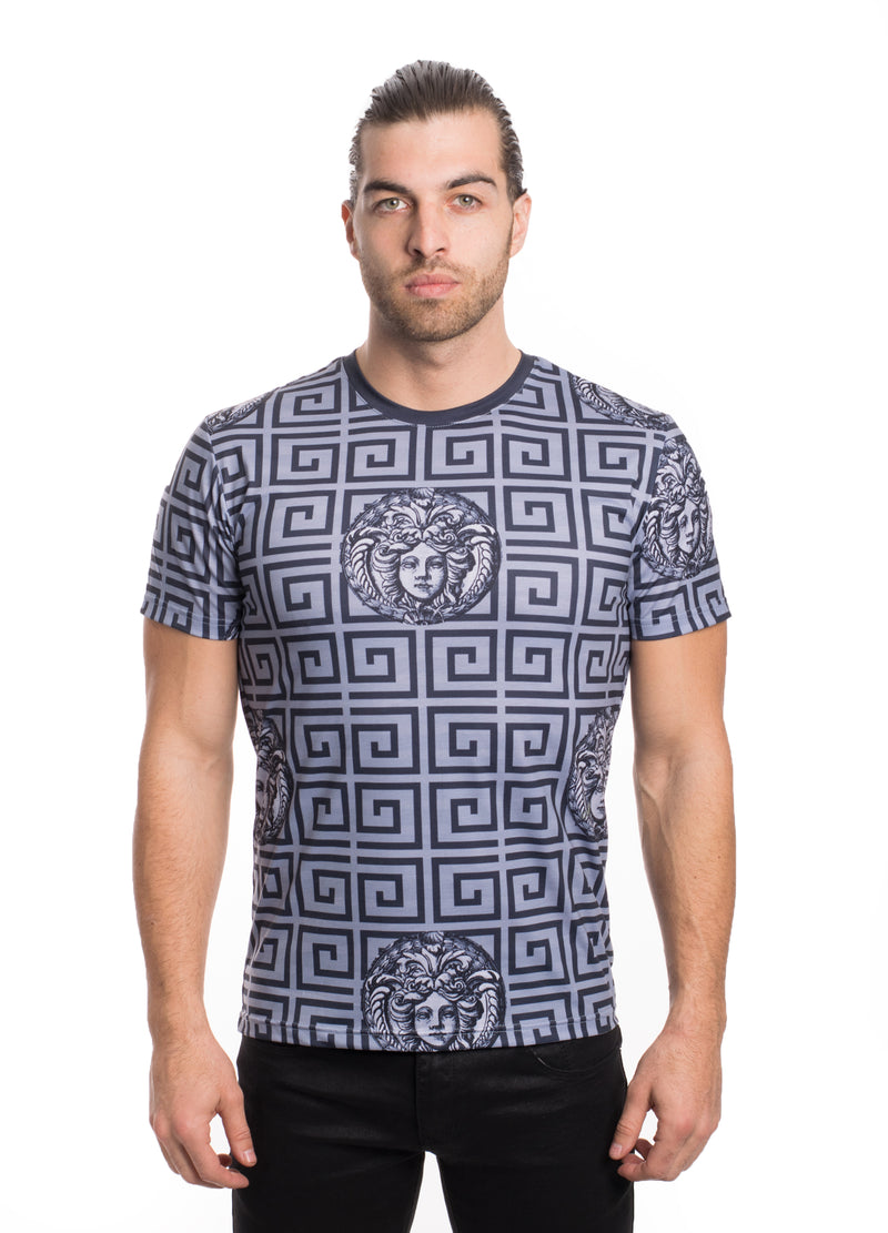 VTK-20-1GREY/BLK MEN'S PRINTED TEE SHIRT 6PK