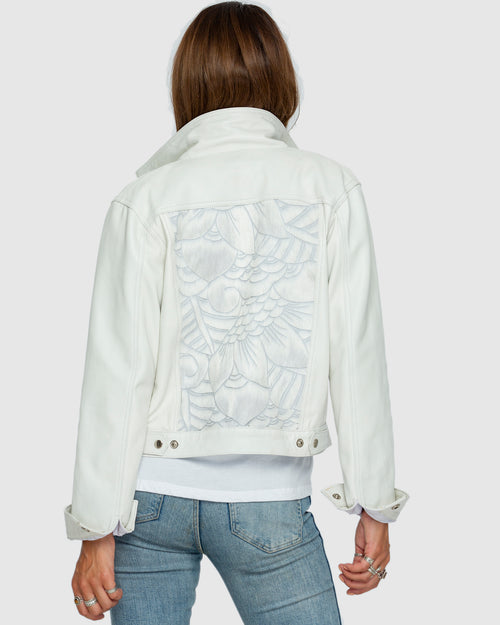 Denim Goes Leather White