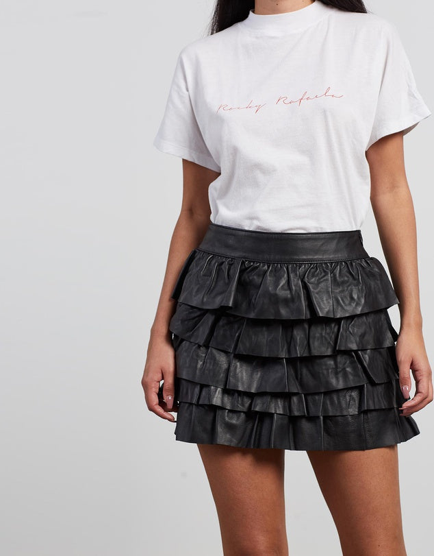 Leather Frill Skirt Black