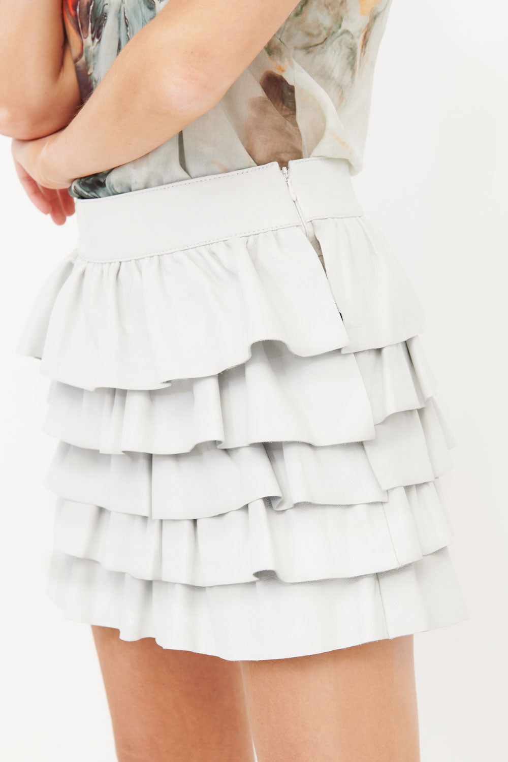 Leather Frill Skirt White