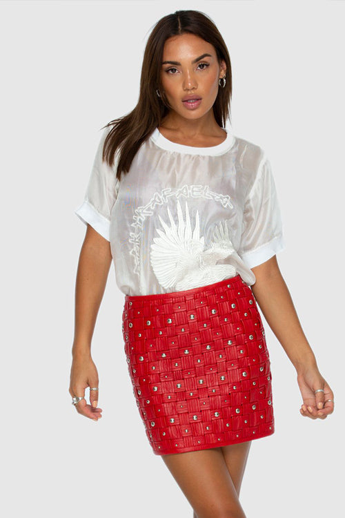 Caged Skirt Red