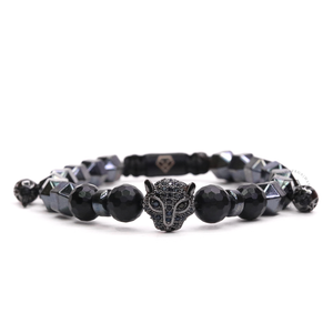 Cz Jaguar Rhodium & Rock Chain Hematite