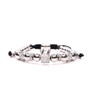 White Gold Cz Crown & Alea