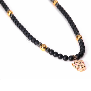 14kt Gold Cz Jaguar & Onyx - Necklace