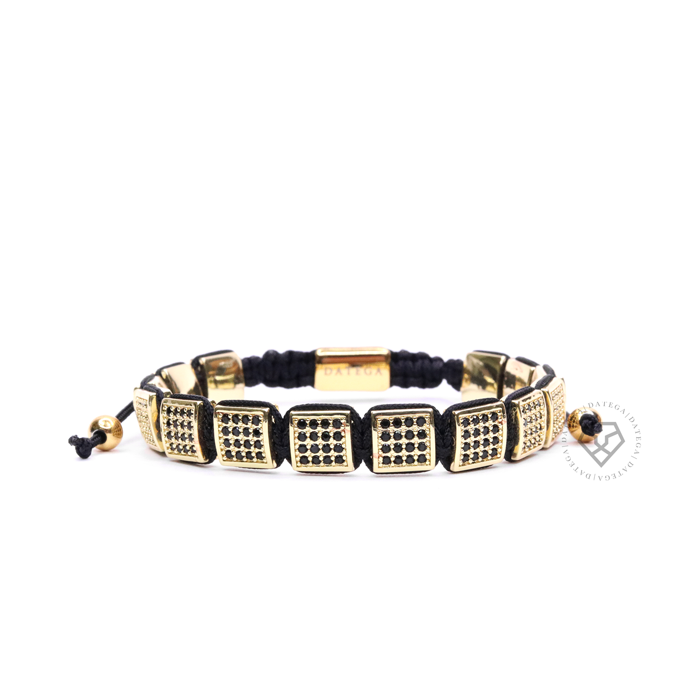 Yellow Gold Black Cz Square Bracelet