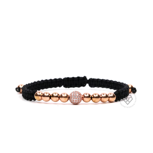 Rose Gold Cz Ball - Black Rope