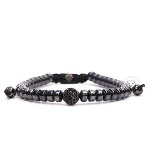 Black Cz Ball & Hematite Rotam