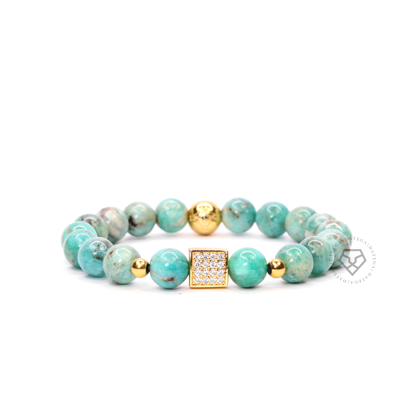 Gold Cz Square & Turquoise
