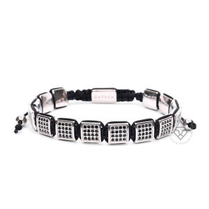 White Gold Black Cz Square Bracelet