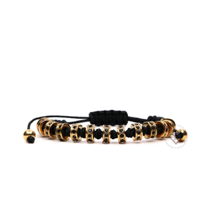 Yellow Gold Multistoppers - Black Rope