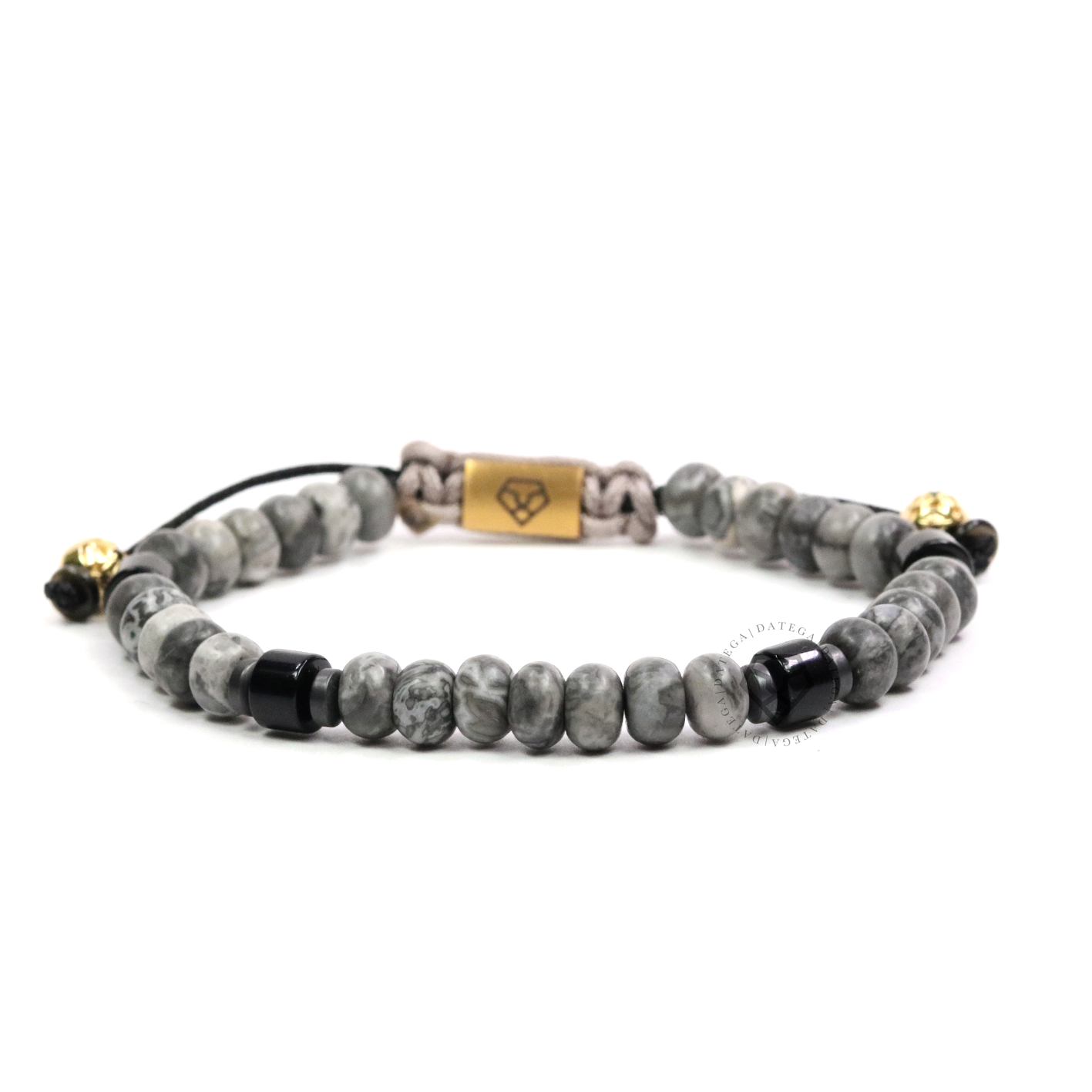 Gray Jasper Rotam & Onyx Cushion Bead