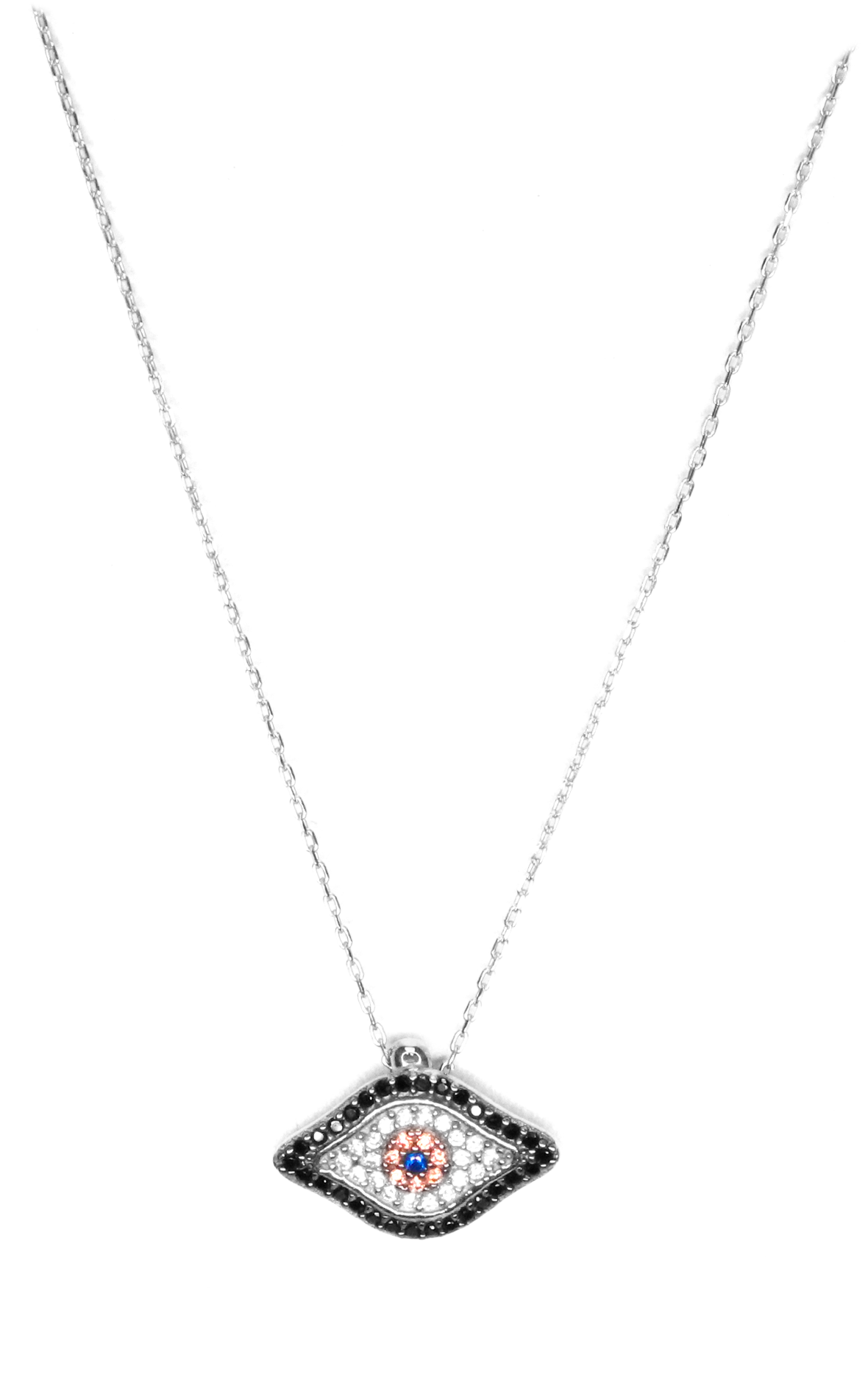 Black & Champagne Cz Evil Eye Necklace - Silver