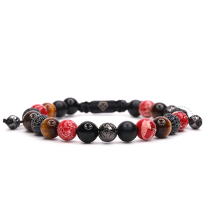 Red Jasper & Tiger Eye - Rhodium