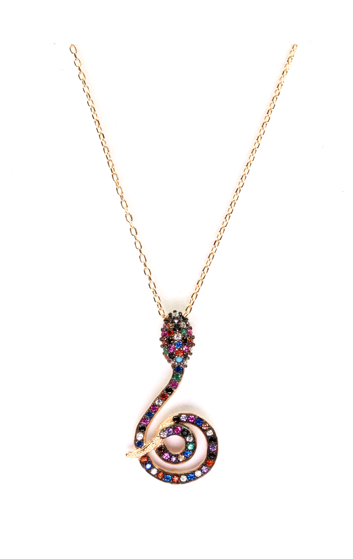 Multicolor Cz Snake Necklace - Gold