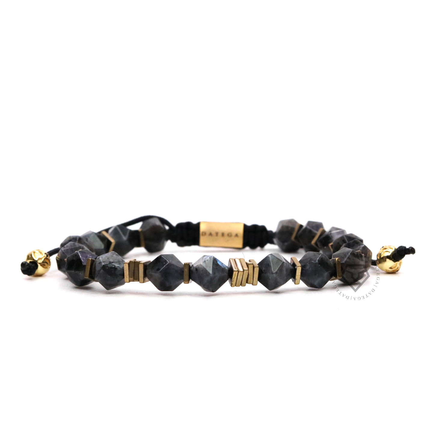 Rock Chain Dark Labradorite & Gold Plain Stoppers