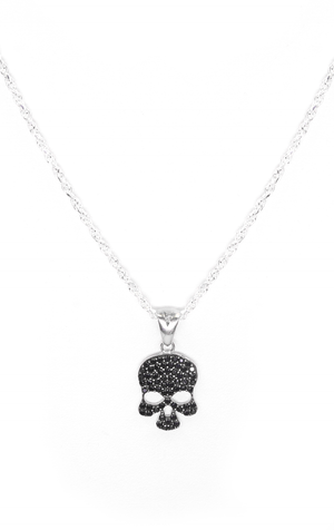 Large Black Cz Euro Skull Necklace - Silver
