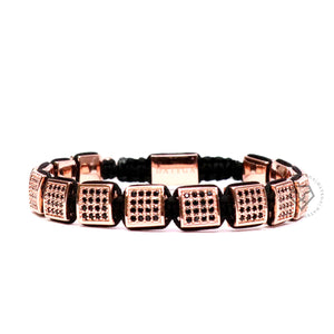 Rose Gold Black Cz Square Bracelet