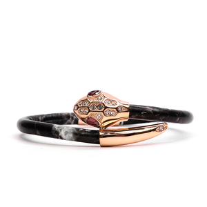 Serpente Rose Gold Black Marble Leather