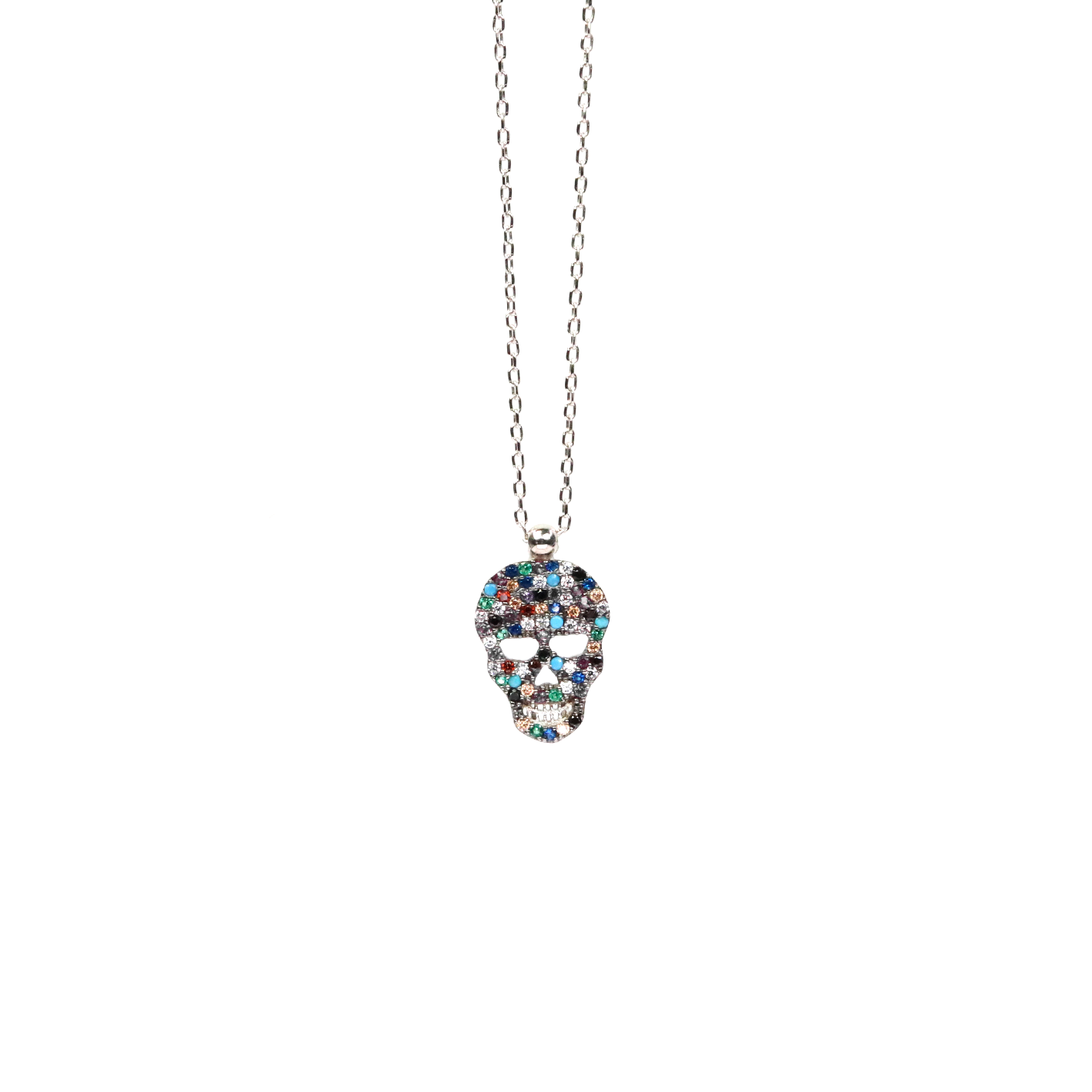 Multicolor Cz Skull Necklace - Silver