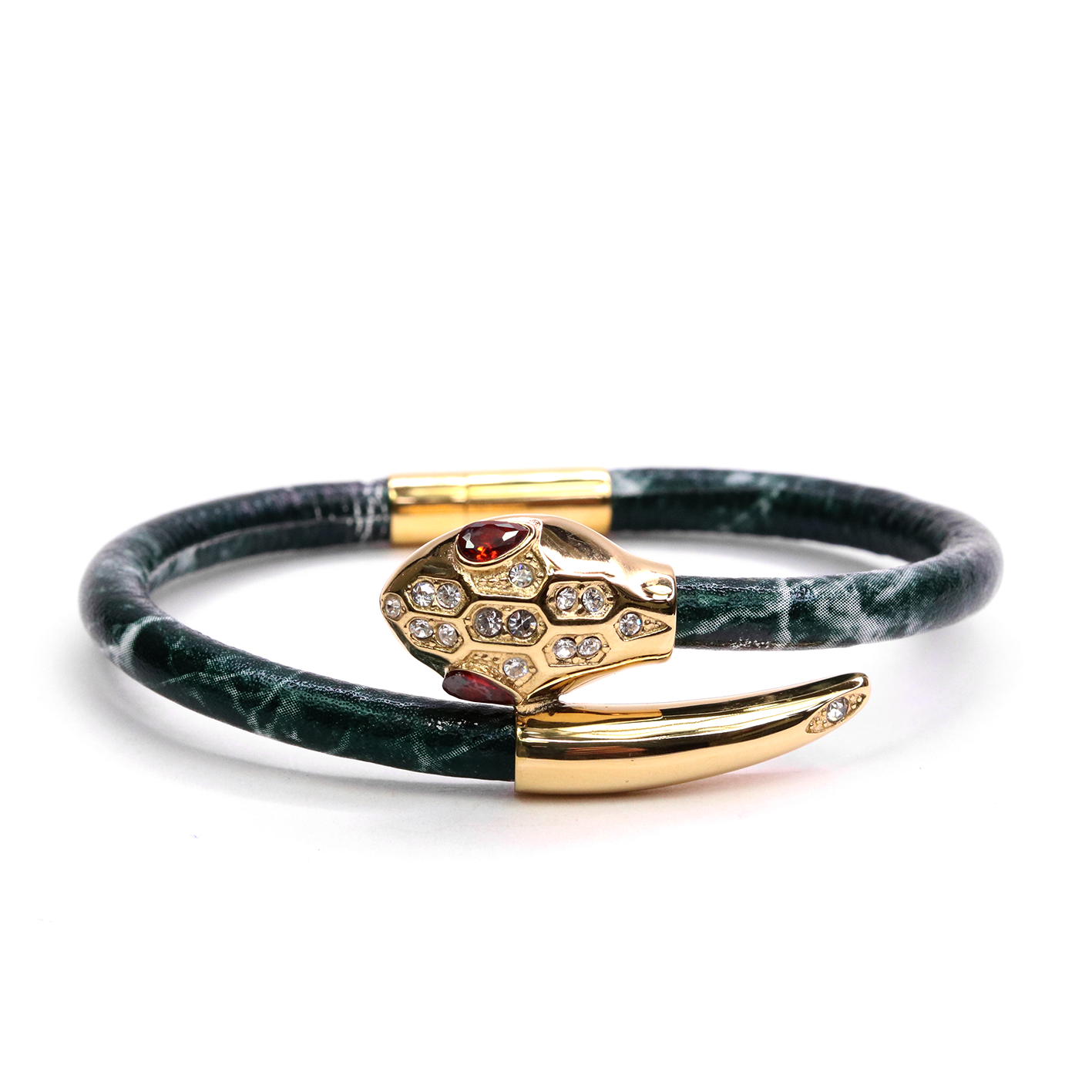 Serpente Yellow Gold Green Marble Leather