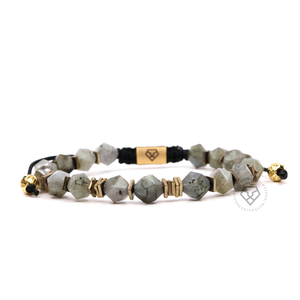Rock Chain Labradorite & Gold Plain Stoppers