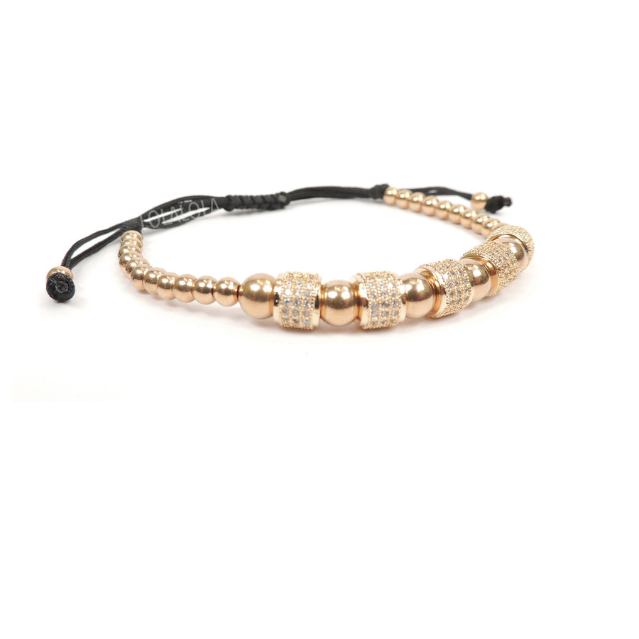 Rose Gold 5 Clear Cz Barrel - Black Rope