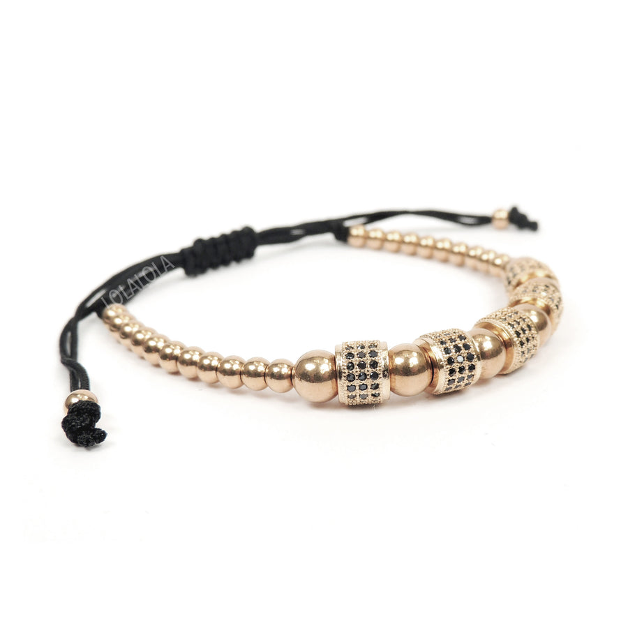 Rose Gold 5 Black Cz Barrel - Black Rope