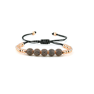 Rose Gold 5 Cz Balls - Black Rope