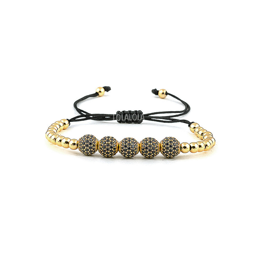 Yellow Gold 5 Cz Balls - Black Rope