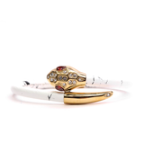 Serpente Yellow Gold White Marble Leather