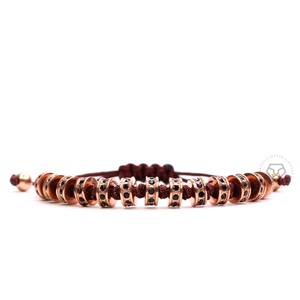 Rose Gold Multistoppers - Brown Rope