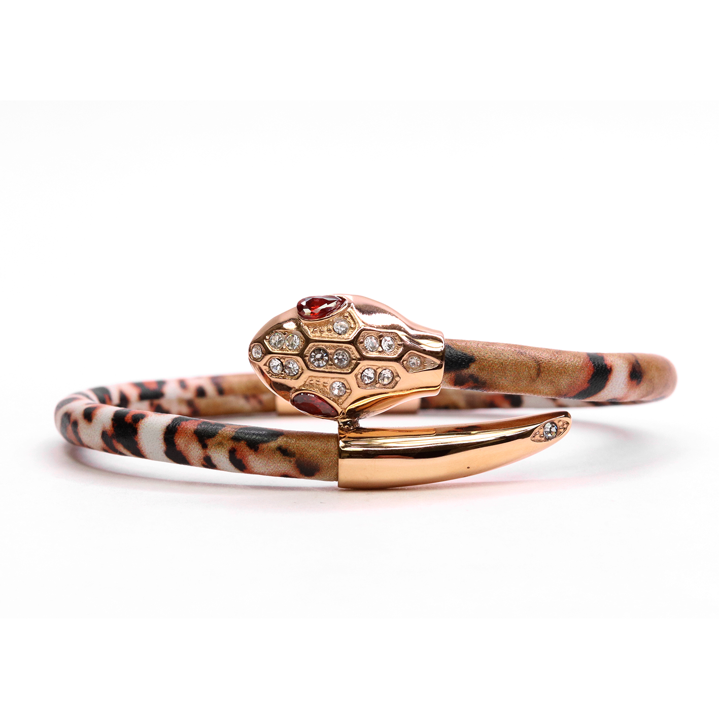 Serpente Rose Gold Brown Marble Leather