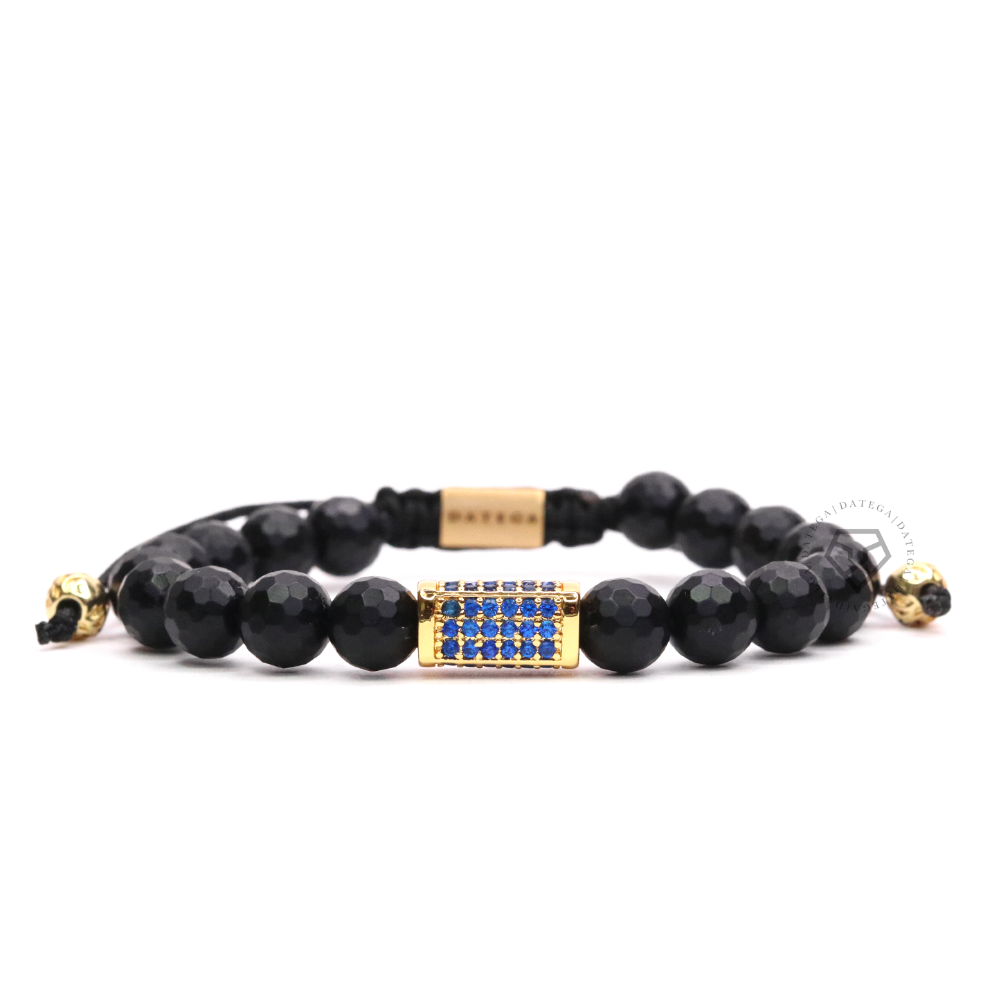 Blue Cz Yellow Gold Box & Onyx