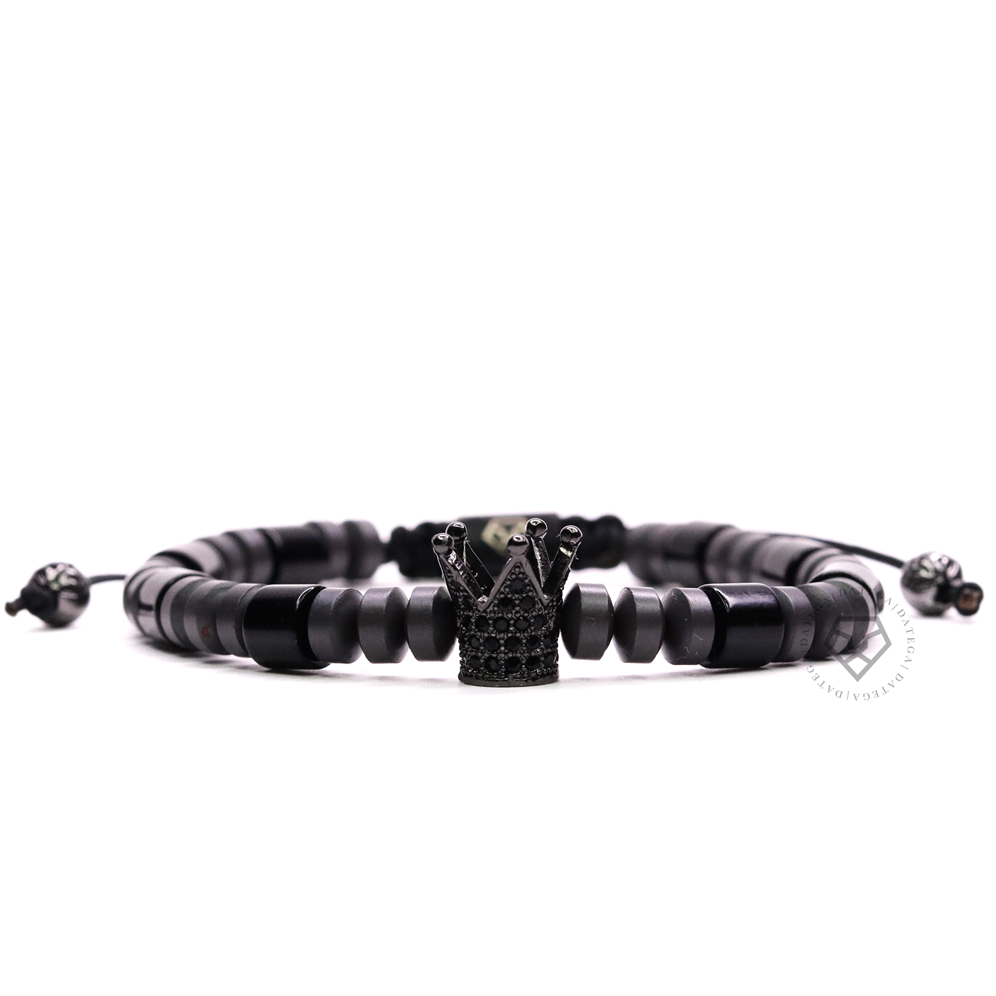 Rhodium Crown, Onyx Cushion & Hematite Stoppers