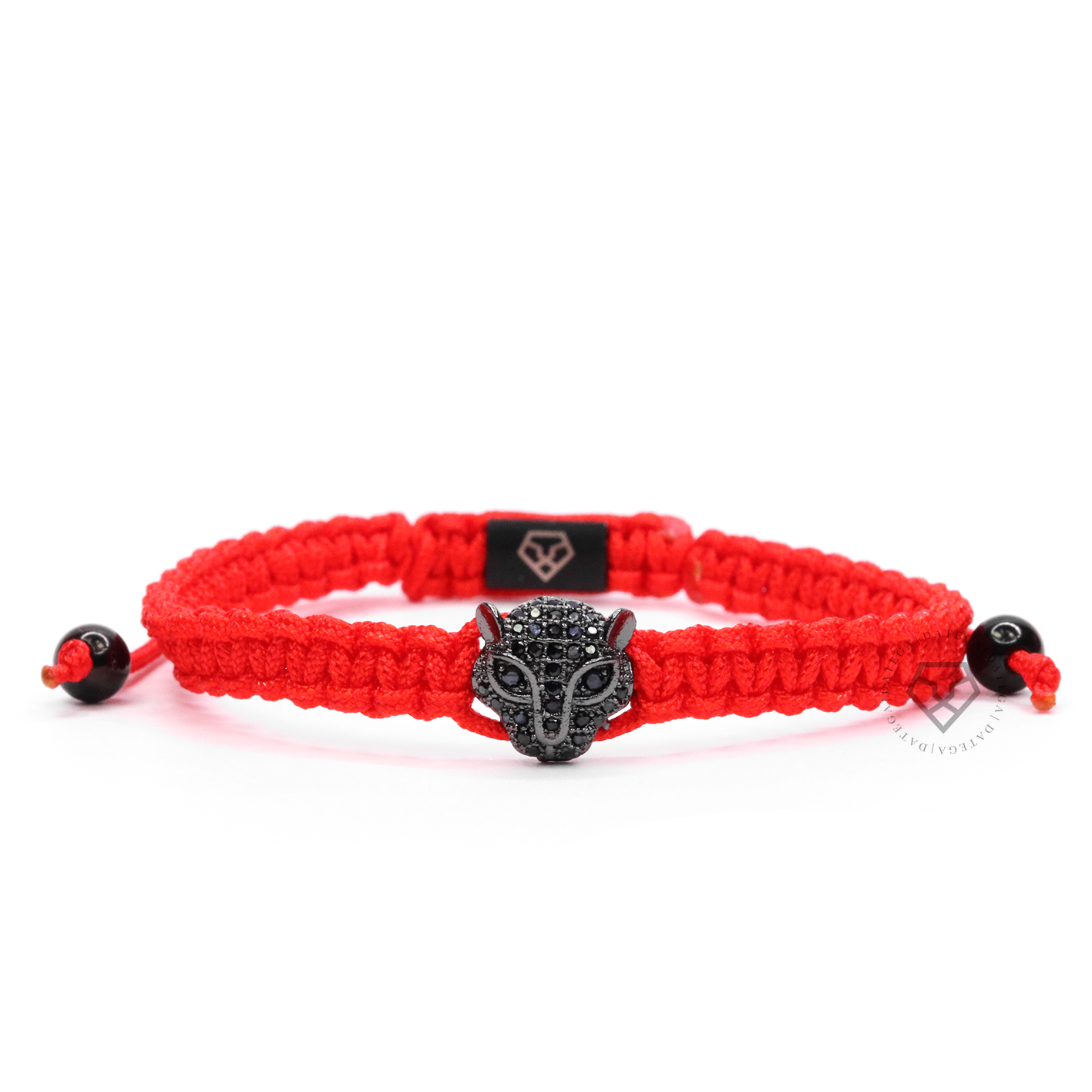 Jaguar Rhodium Black Cz - Red Rope
