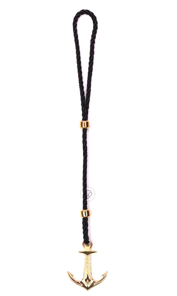 Yellow Gold DATEGA Anchor - Black Rope